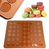 JJOnlineStore - Non Stick Macaron Silicone Baking Mat for 24 Perfect Macarons, 48 Cavities Moulds - 39x29cm / 15.4' x 11.4' inch - Brown