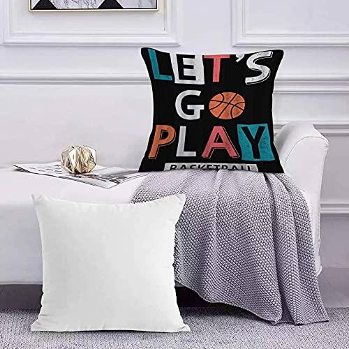 Funda de Cojín Funda de Almohada del Hogar Let 's Go Play Basketball Boy Sport Baloncesto Sofá Throw Cojín Almohada Caso de la Cubierta para 45x45cm
