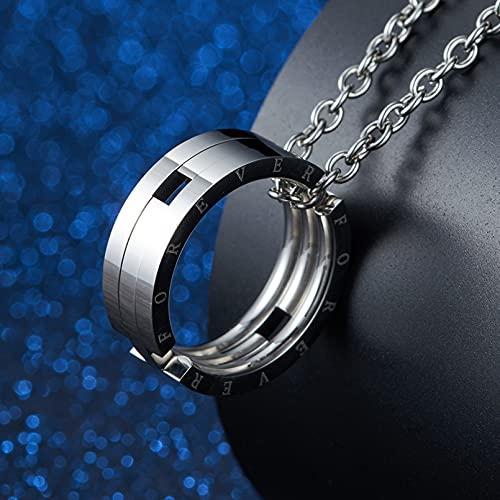 collar Colgante Joyas Collar de anillo telescópico plegable con colgante de anillo de deformación de pez beso de acero de titanio estilo Regalo de fiesta de cumpleaños de navidad de acción de gracias