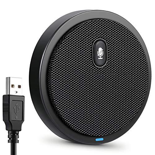 Hamkot - Micrófono de PC con condensador omnidireccional de 360 ° para videoconferencia, juegos, grabación, clases en línea, Skype, Windows, Mac PC portátil (enchufar y jugar)