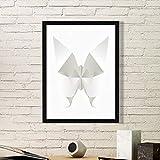 DIYthinker Mariposa Blanca Abstracta de Origami patrón de la Pintura del Arte Foto de la Imagen del rectángulo de Madera del hogar del Marco Regalo decoración de la Pared Pequeña Negro
