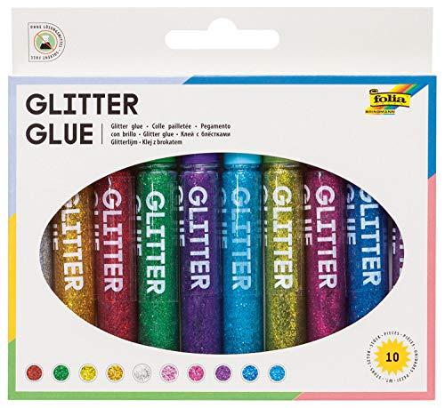 folia 4001868005745 574 Glitter Glue, Klebestifte mit Glitzer, 10 Stifte sortiert in 10 Farben, je 9,5 ml zum Bemalen und Verzieren