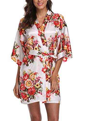 Women's Floral Satin Short Robe Bathrobe Bridesmaid Gift Bridal Party Wedding Favor (Adult Regular (US 2-14), White)