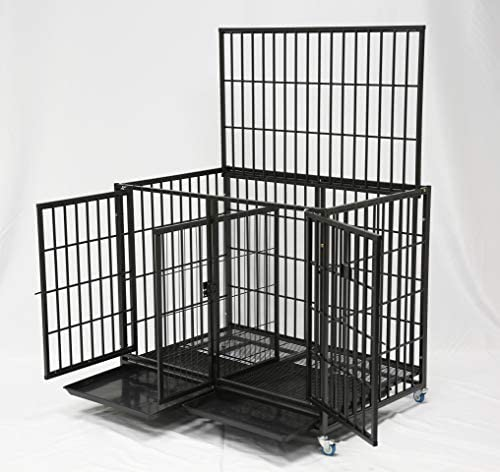 """43"""" Stackable Heavy Duty Cage w/Feeding Doors and Divider or Additional Tray"""