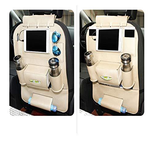 Bolsa de almacenamiento posterior de asiento de coche, portátil bolsa de almacenaje del asiento posterior del coche de múltiples funciones, botella de almacenamiento, caja de pañuelos,Blanco
