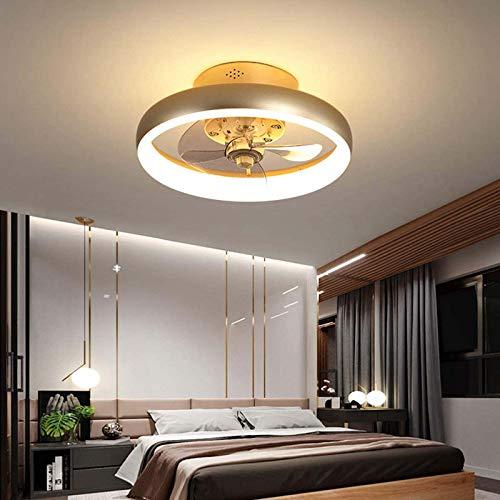 HHGM Mudo Ventilador de Techo con luz y Control Remoto, Moderno LED Luces de Techo, Regulable Silencio Iluminación del Ventilador para Sala Habitación Lujo Lámpara de Techo,Round,40CM