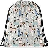 Beabes Llama Cactus Drawstring Bags Backpack Bag Alpaca Animal Summer American Style Scandinavian Cute Cartoon Sport Gym Sack Drawstring Bag String Bag Yoga Bag for Men Women Boys Girls