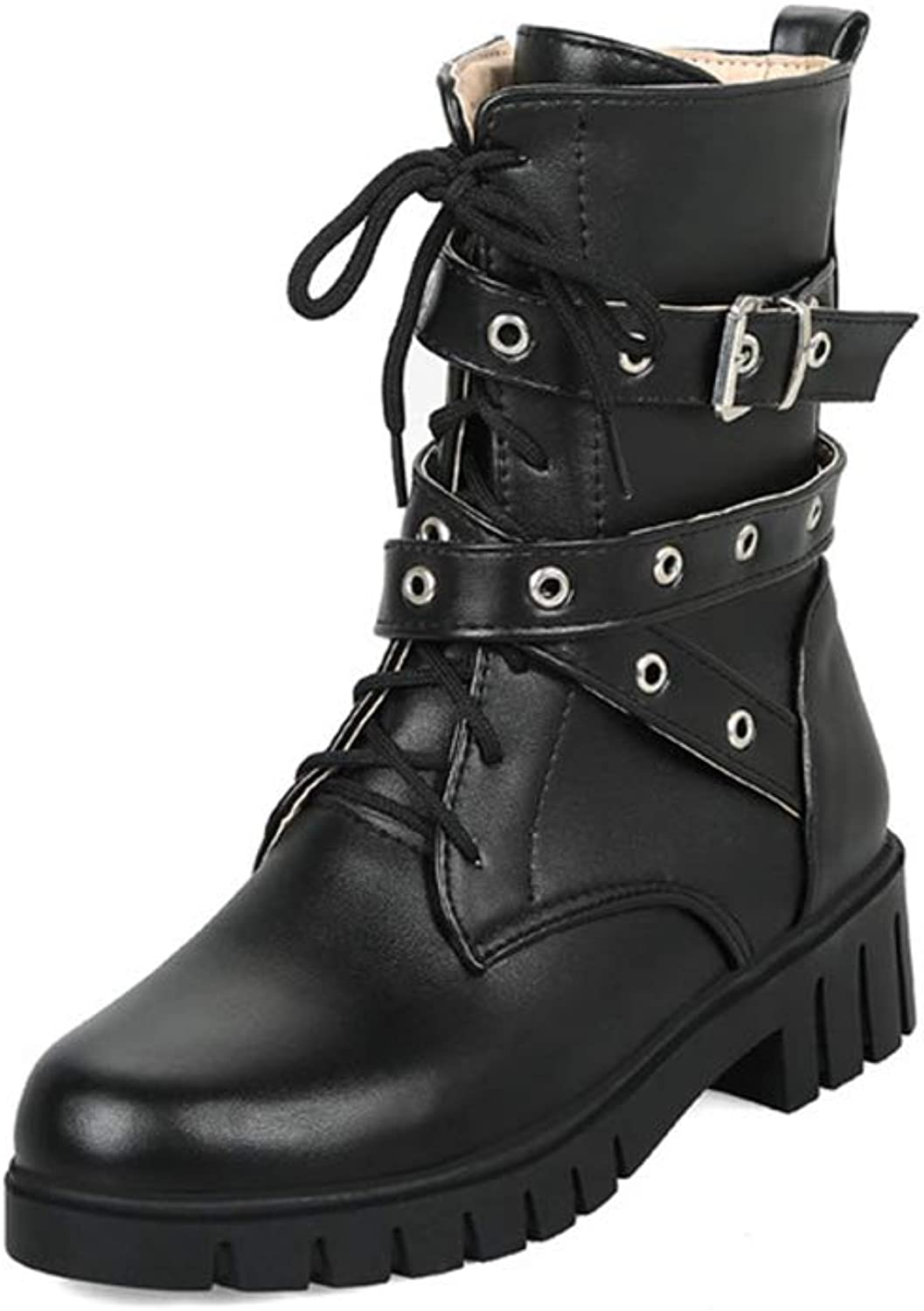 Woman Ankle Boots Lace Up Buckle Strap Zipper Round Toe High Chunky Heel Female Fashion Antislip Martin Boots
