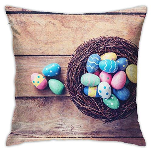 Retro Easter Egg Decorative Throw Pillow Cover Hidden Zipper Closure Cushion Case for Home Sofa Bedroom Car Chair House Party Indoor Outdoor 18 X 18 Inch 45 X 45 cm