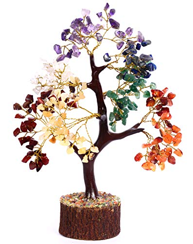 PYOR Seven Chakra Gemstone Healing Feng Shui Tree - Bonsai Money Tree of Life for Good Luck, Wealth, Money & Prosperity - Spiritual Housewarming Gift for Home & Office