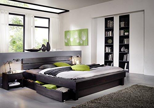 SAM Massiv-Holzbett 180x200 cm Columbia mit Bettkästen, in Buche wenge, mit geteiltem Kopfteil, warmem Braunton