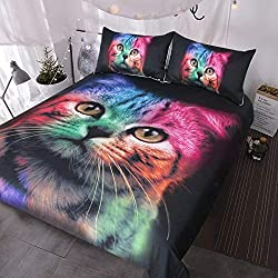 rainbow cat print duvet cover