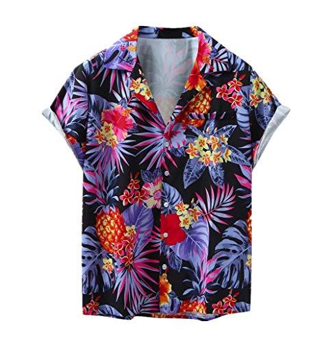 Andouy Herren Hemd Hawaiihemd Kurzarm 3D Gedruckt Freizeithemd Lässige Button Down Aloha Shirt(M.Lila)