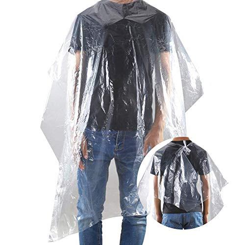 200 mantelle per capelli usa e getta trasparenti, impermeabili, in nylon, per parrucchieri, barbieri, parrucchieri, cosmetici, barbiere, per tagli, lavare i capelli, colorare i capelli, permanente