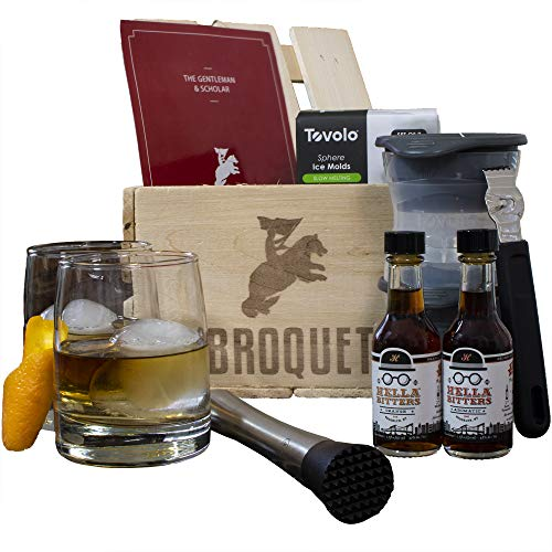 Professional Old Fashioned Cocktail Bartender Kit- Perfect for mixing old fashions (8 Piece Bar Tools Set) Comes in a Luxury Wooden Gift Crate - Whiskey Glasses - Gifts For Men - Bartending