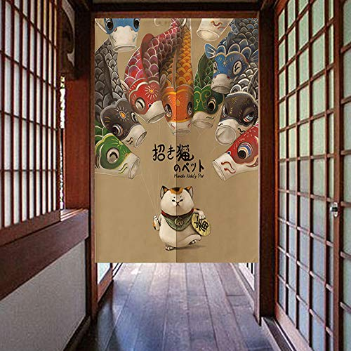 MYRU Vorhang Lucky Cat Noren Koi Fisch Japanisch Vorhang Noren Japanische Vorhang Eingang Feng Shui Türvorhang 33...