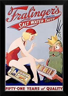 CANVAS ON DEMAND Fralingers Original Salt Water Taffy, Vintage Poster Black Framed Art Print, 19