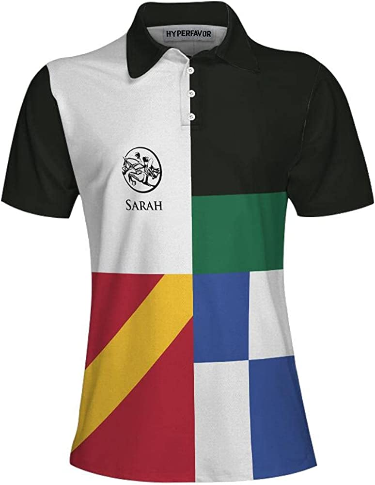 HYPERFAVOR Custom Equestrian Shirts for Women- Quick-Dry Womens Horse Riding Shirts- Equestrian Polo Shirts for Women