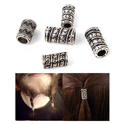 Viking Beads for Hair Jewelry Making-Viking Hair Beads Norse Runes Beads Celtic Beard Beads Viking Prayer Beads Hair Beard Beads Charm Findings for Hair Beard Braided Paracord Bracelet DIY Beads
