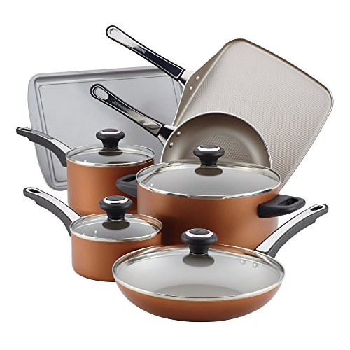 Farberware High Performance Nonstick Cookware Pots and Pans Set Dishwasher Safe, 17 Piece, Copper