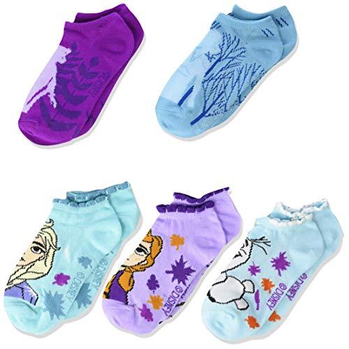 6-8 Medium Disney Frozen Little Girls 6 Pack Assorted No Show Socks