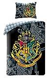Hogwarts - Biancheria da letto per bambini Harry Potter, copripiumino 140 x 200 cm, federa 70 x 90 cm, cotone