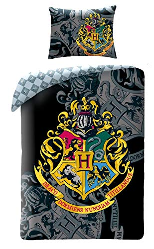 Harry Potter Ropa de Cama Infantil Funda de Edredón 140x200 Cojín 70x90 Algodón Hogwarts
