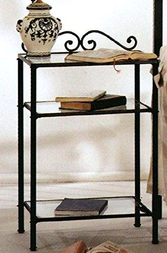 Mesita de noche de hierro forjado de color negro grafito con 3estantes abiertos (Cristal, cómoda...