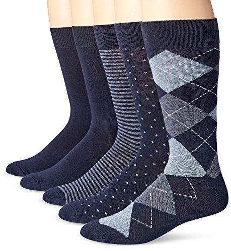 Amazon Essentials 5-Pack Patterned dress-socks, Assorted Navy, Shoe Size: 8-12, 5er