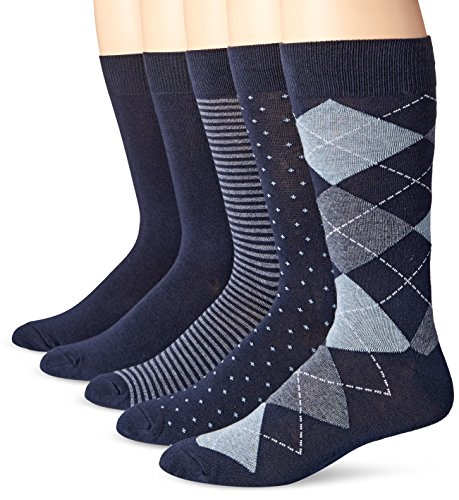 Amazon Essentials Men's 5-Pack Patterned Dress Socks, Assorted Navy, Shoe Size: 8-12