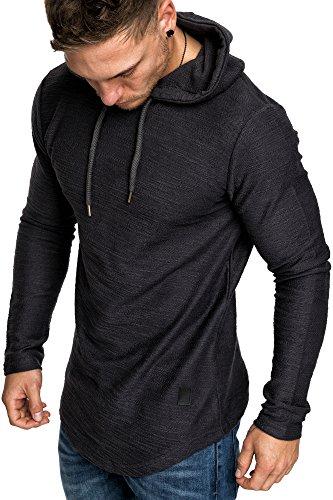 Amaci&Sons Herren Oversize Kapuzenpullover Hoodie Sweater Pullover Sweatshirt 4011 Anthrazit XL