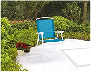 Mainstays Folding Sling Chair, Set of 2, White/Blue