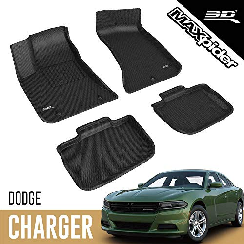 3D MAXpider All-Weather floor Mats Compatible with Dodge Charger RWD 2011-2021 Custom Fit Car Floor Liners, Kagu Series (1st & 2nd Row, Black)