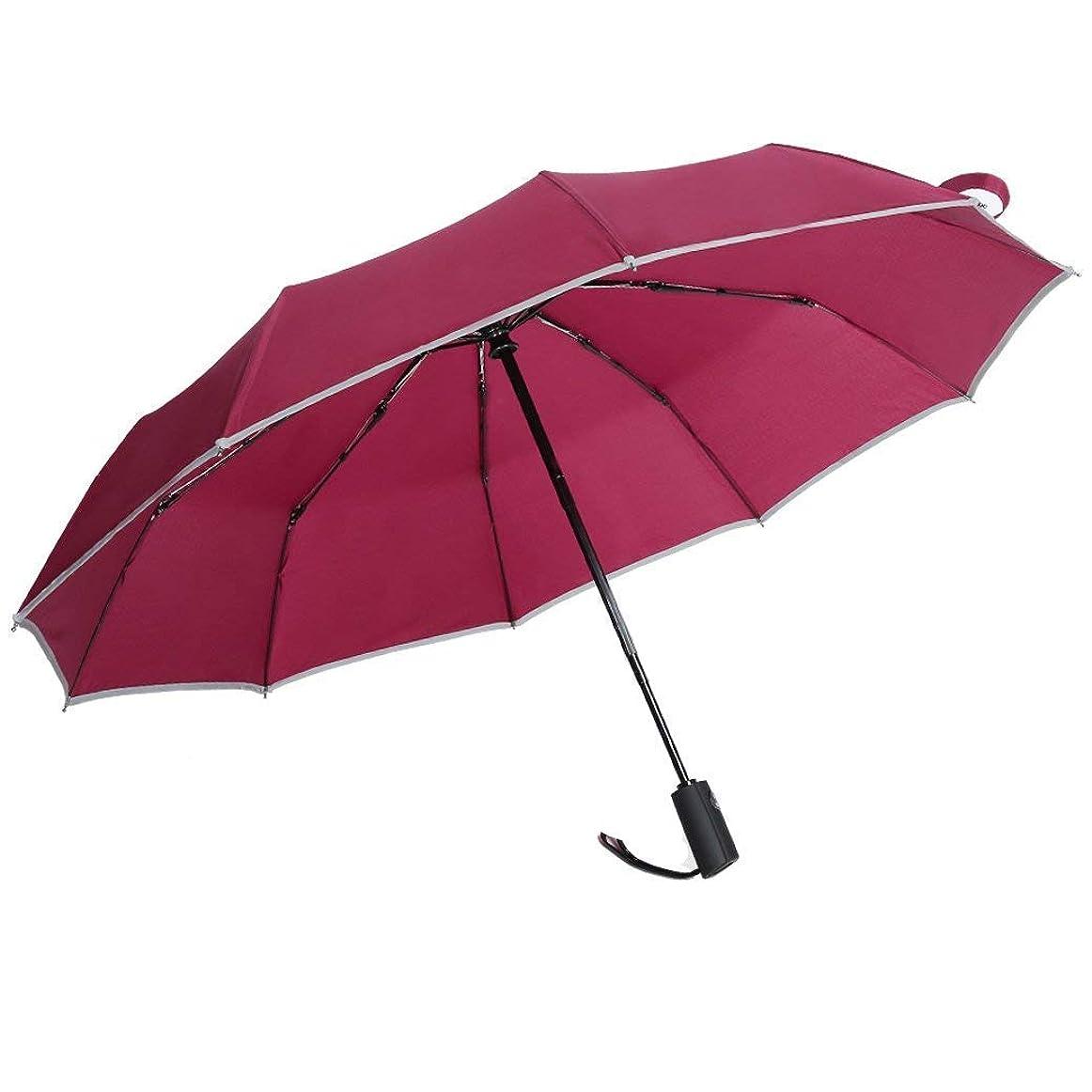 折りたたみ傘 自動開閉 メンズ 大きい 反射テープ付き 頑丈な10本骨 晴雨兼用 折り畳み傘 超軽量 Teflon加工 耐風撥水 210T高強度グラスファイバー 梅雨対策 収納ポーチ付き