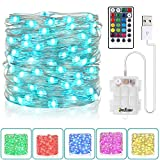 Fairy String Lights Battery Operated & USB Plug-in 33Ft 100 LEDs 16 Color Changing Lights and 8 Lights Mode Remote Waterproof 3AA Battery Case, String Lights for Bedroom Christmas Wedding Party Decor