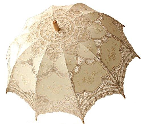 Danapp - Sombrilla de encaje para boda, accesorio para disfraz de dama victoriana, accesorio para decoración de fiesta de novia, accesorio para fotos (beige)