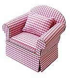 Inusitus Neues Puppenhaus Sessel | Miniatur Möbel Sofa Sessel | Puppen Spielzeug | 1/12 Möbel für Kinder (Rosa-weiß kariert)