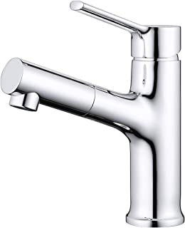 TAIMIKO Bathroom Sink Faucet Kitchen Sink Faucet with Pull Out Shower Sprinkler Mixer Tap Bath Tap Brass Rotatable Single Lever Faucet Bath Filler Bathroom Basin Tap 360 Swivel Extender 3 Yr Warranty