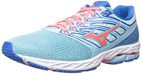 Mizuno Chaussures de course Wave Shadow pour femme, bleu (Topaze bleue/corail/bleu impérial.), 36 EU