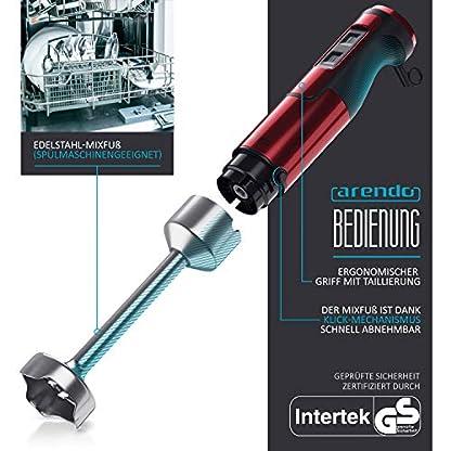 Arendo-Stabmixer-1000-Watt-Edelstahl-vierfluegeliges-Messer-Puerierstab-Mixer-stufenlose-Geschwindigkeitsregelung-Turbotaste-abnehmbarer-Mixfuss-GS-zertifiziert-Rubinrot