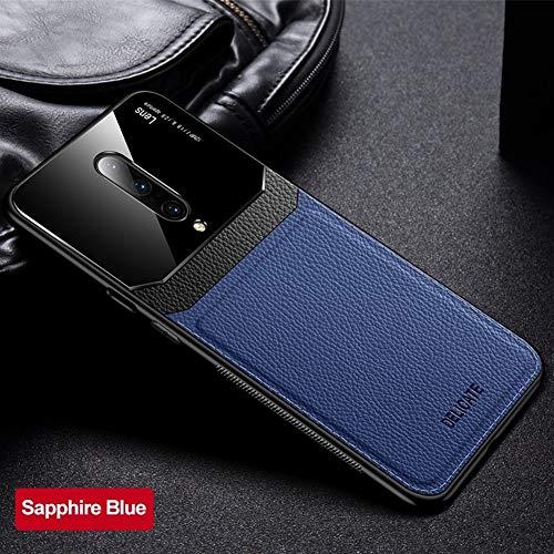 ZIXI beschermhoes voor OnePlus iPhone 7, PU-leer, spiegels, plexiglas, siliconen, schokbestendig, voor bumpers Plus 6 6T 7T Pro, Oneplus 6, Blauw