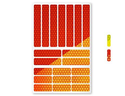 reflexsticker in Neon Edition | versch. Motive und Zwei Farben | Bogenmaß L (16 x 10,5 cm) | auffällig bei Tag und Nacht | Reflektoren für Fahrräder, Helme, Lastenrad, Kinderwagen (Motiv #1, orange)