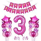Globo Numero 3 Rosa, Decoración de Cumpleaños 3 en Rosa, Pancarta de Feliz Cumpleaños, Foil Helio Globo Númer, Globos de Fiesta, para Bodas Niña Cumpleaños Comunion Bautizo