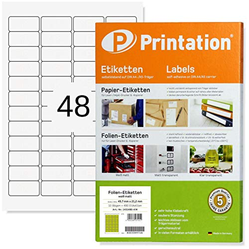 Etiketten 45,7 x 21,2 mm WETTERFEST weiß auf DIN A4 Bogen - 4 x 12 Stück/Seite 480 Folienetiketten 45,7x21,2 selbstklebend bedruckbar mit Laser Drucker