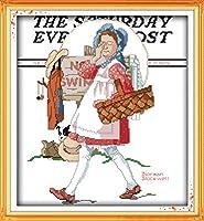 DIY クロスステッチキット、手作り刺繍キット 、図柄印刷 初心者 ホーム装飾 、壁の装飾 、クリスマス プレゼント, フラワーバスケット 40x50cm