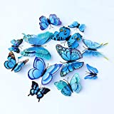 Somotersea 24PCS 3D Butterfly Wall Decals Removable Butterfly Decor for Girls Stickers Kids Bedroom and Room Decoration Art Mural Double Wings Blue