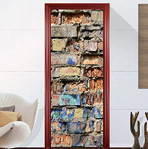 Etiqueta engomada de la puerta de ladrillo roto 77 * 200 cm autoadhesivo impermeable papel tapiz extraíble DIY decoración del hogar calcomanías para sala de estar dormitorio