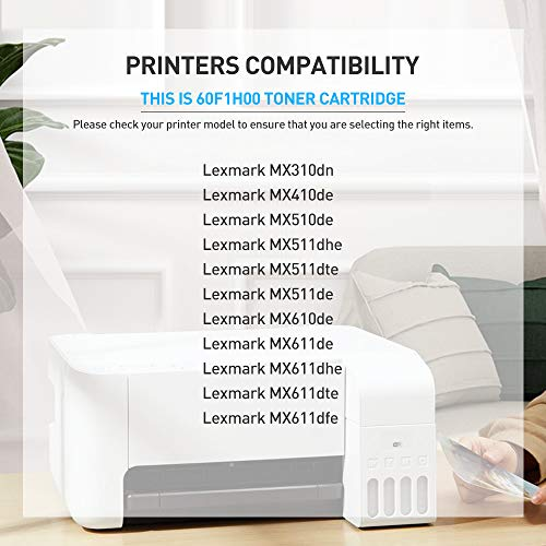 BAISINE 60F1H00 601H Compatible Toner Cartridge Replacement for Lexmark MX310dn MX611de MX511de MX410de MX611dhe MX610de MX511dhe MX510de MX511dte MX611dte MX611dfe - High Yield 10,000 Pages (2-Pack) Photo #3