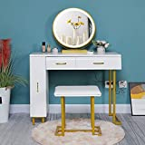 Iwell Vanity Table Set with 3 Colors Lighted Mirror, 1 Storage Cabinet & 2 Drawers, Dressing Makeup Table with Cushioned Stool, Gift for Mom, Girl, Women, Dresser Desk for Bedroom, Bathroom White