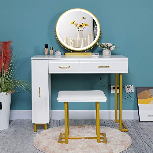 Iwell Vanity Table Set with 3 Colors Lighted Mirror, 1 Storage Cabinet & 2 Drawers, Dressing Makeup Table with Cushioned Stool, for Girl, Women, Dresser Desk for Bedroom, Bathroom Gold